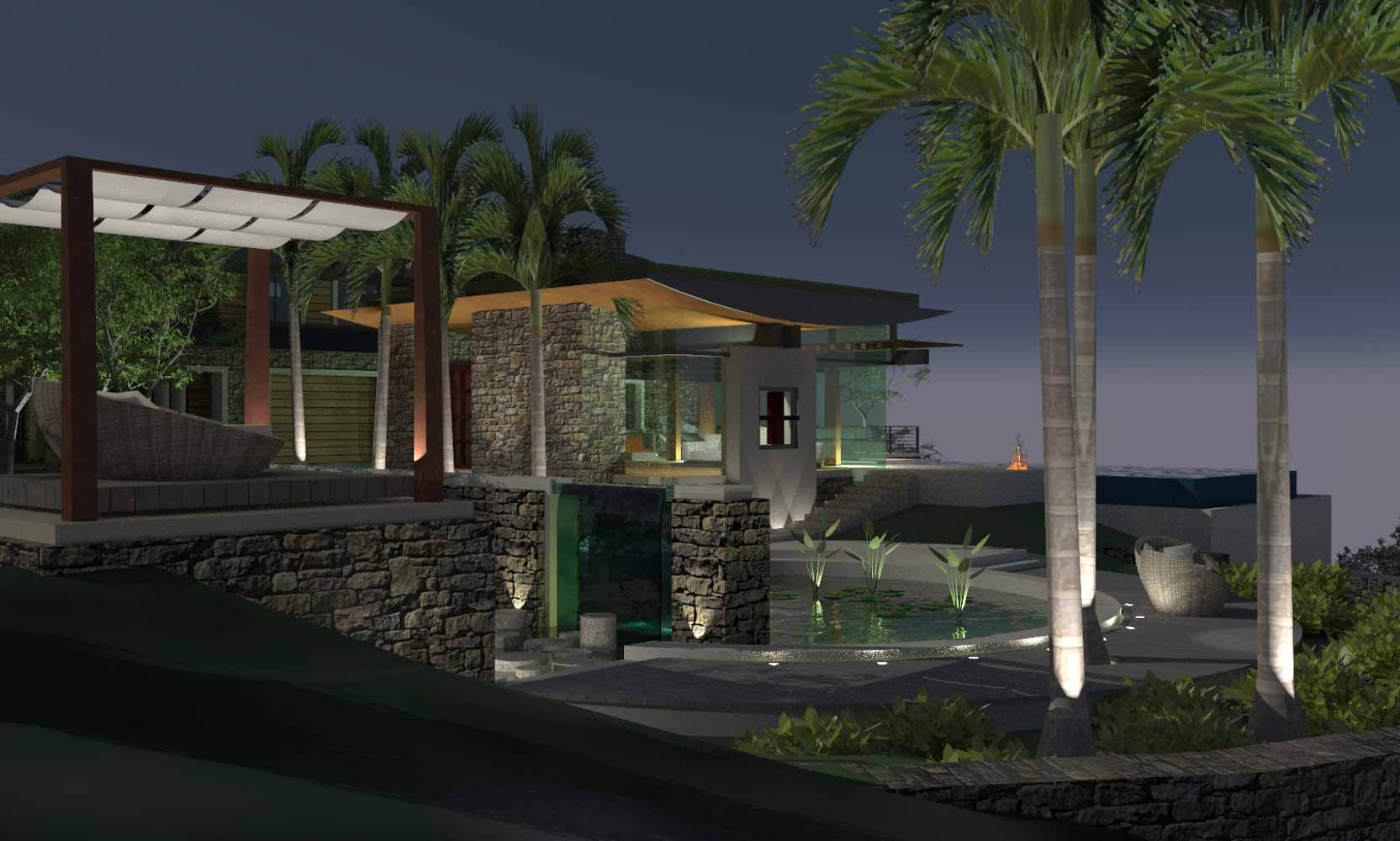 Arteriors Architects Evening View of Los Angeles Calabasas California Glass House